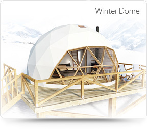 winter dome, glamping dome